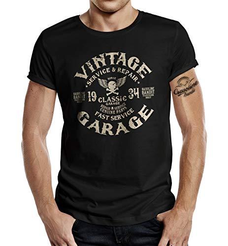 Gasoline Bandit Biker Racer - Camiseta de manga corta, diseño vintage Negro L