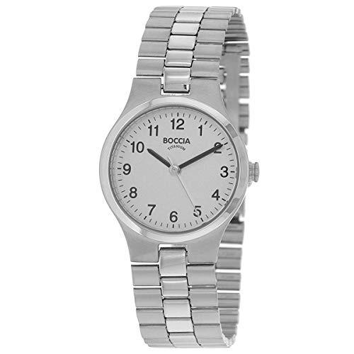 Boccia Damen Analog Quarz Uhr mit Titan Armband 3082-06