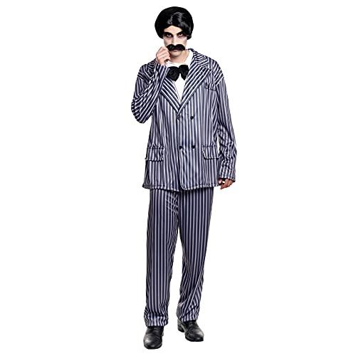 Disfraz Gangster Abogado Familia Tenebrosa Hombre [Talla L]Tallas Adulto S a LTraje Rayas Disfraz Halloween Hombre Cosplay