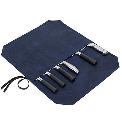 Bolsa de lona encerada para cuchillos de chef enrollados, resistente bolsa de almacenamiento para cuchillos y cubiertos, bolsa de herramientas con 6 ranuras para envolver