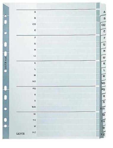 Leitz Register für A4, Deckblatt und 20 Trennblätter, Taben mit alphabetischem Aufdruck A-Z, Lochrand und bunte Taben folienverstärkt (Mylar), Grau, Karton, 43280000