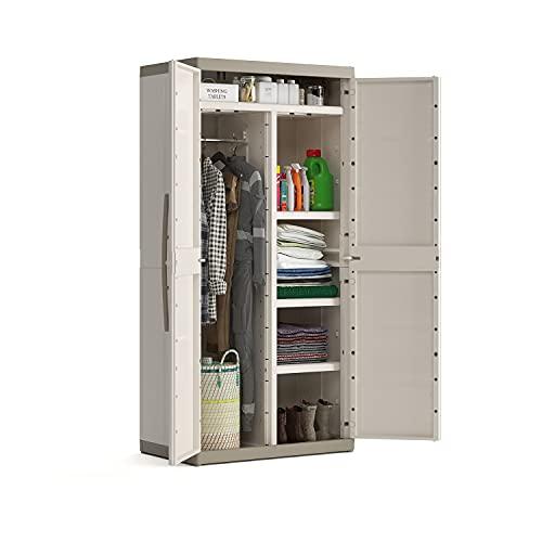 Keter Armadio da Interno Excellence XL con Appendiabiti – Porta Scope, Beige, 89 x 54 x 182 Centimetri