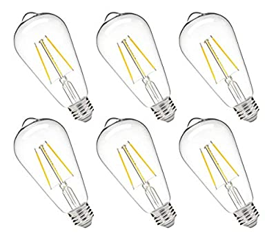 Hyperikon ST64 LED Bulb, 5W=25W Filament, LED Lighting E26, Dimmable, UL, Warm White, 6 Pack