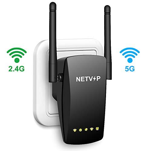 NETVIP WLAN Repeater 1200Mbit/s WLAN Verstärker Dual-WLAN (5GHz 867Mbit/s 2,4GHz 300Mbit/s) WiFi Repeater mit LAN-Port uunterstützt AP/Repeater/Router Modus kompatibel zu Allen WLAN Geräten