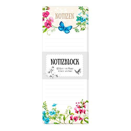 Notizblock/Notizzettel gebunden, 60 Blatt, liniert, Blumenm, magnetisch für Kühlschrank mit Motiv, Einkaufsliste, To-Do-Liste, bunt, blau, rot, grün