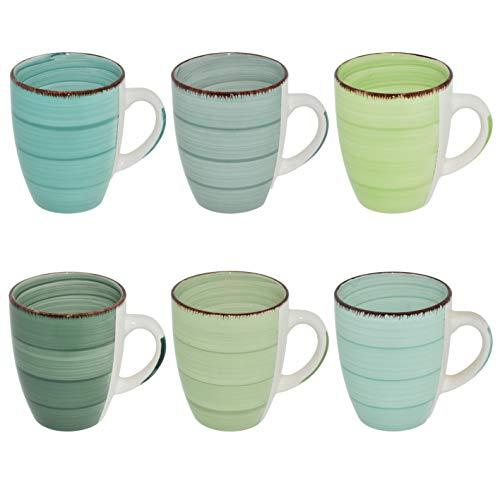 CREOFANT Kaffeetassen Set 6 Teilig · Steingut Tassen · Trinkbecher · Heißgetränke Tassen · handbemaltes Kaffeetassen Set · Tee Pott · Trinkbecher 350 ml