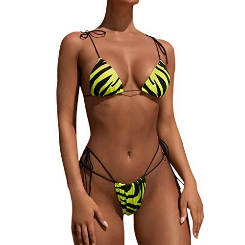 riou Bikinis Mujer 2020 Push up Bikini de Tres Puntos con Estampado de Cebra y Tira Mujeres Conjunto de Traje de BañO Brasileños Bañador Ropa de Dos Piezas vikinis