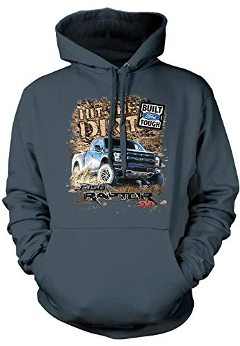 Amdesco Men's Ford Raptor SVT F-150 Hooded Sweatshirt, Charcoal Gray XL