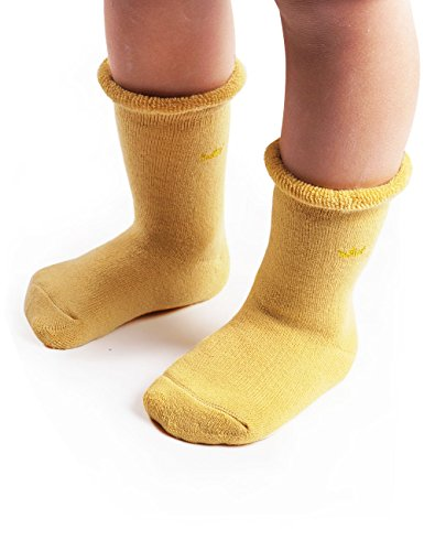 Baby Infant Toddler Boys Girls Thick Warm Winter Socks Fuzzy Cotton Thermal Boot Socks for Cold Weather, Yellow White Gray, 1-3 Year, 3 Pack