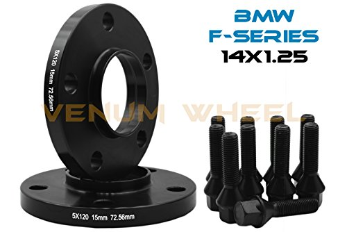 2 Pc 15 MM BMW F-Series 5x120 MM Black Hub Centric Wheel Spacers 72.56 Hub Bore W/ 14x1.25 Black Lug Bolts Fits: 2013-2017 228 320 328 GT X Drive 335 GT 428 435 528 550 640 740 750 760 M3 M4 M5 M6