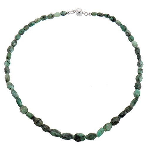 Harry Ivens Damen Halskette aus Silber 925 Magnetschließe mit echtem Smaragd grün