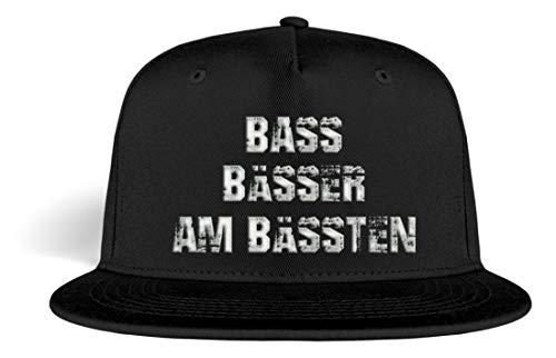 PlimPlom Bass Bässer Am Bässten Snapback Gestickt - Techno Rave Festival Cap - Kappe -Einheitsgröße-Schwarz