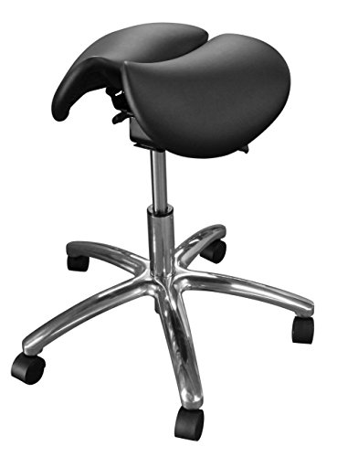 Dentists Unite 4030 Professional Dental Stool, Split Seat Saddle Stool, Ergonomic, Black