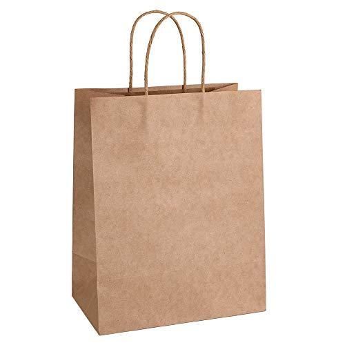 Sacchetti di carta kraft 25,50,100,200 pezzi riciclaggio certificato FSC per pranzo, pane, shopping bag con maniglia X-large 100