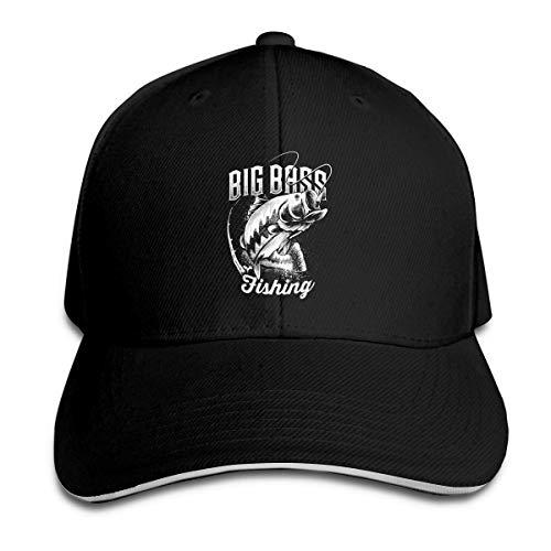 Overlooked Shop Cappello da panino con Visiera Regolabile Big Bass Fishing Trucker Baseball