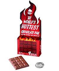 "New Look, Same Hellish Heat! Absurdly spicy (and possibly dangerous) chocolate bar Contains chili extract rated at 9 million Scoville Heat Units! Very small: Net wt: 0.17 oz (5g); Dimensions: 1.5"" x 1"" Made in USA"