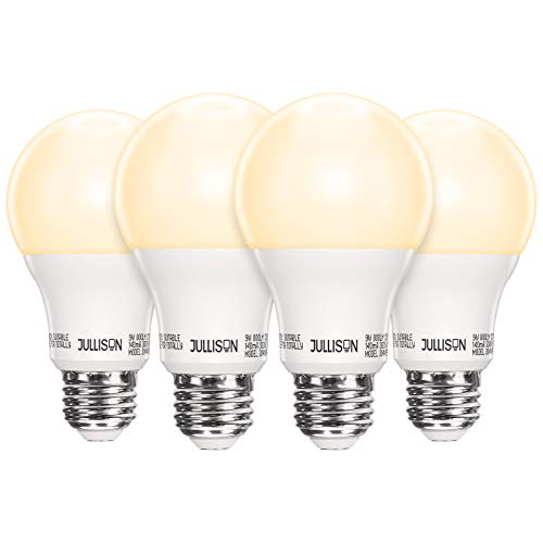 JULLISON Radar Motion Sensor Security Light Bulbs, LED A19 9W=60W, Day/Night Sensor Auto On Off, Non-dimmable, Indoor & Outdoor, 120VAC, 800 Lumens, UL & FCC, E26, Warm White 3000K, Pack of 4