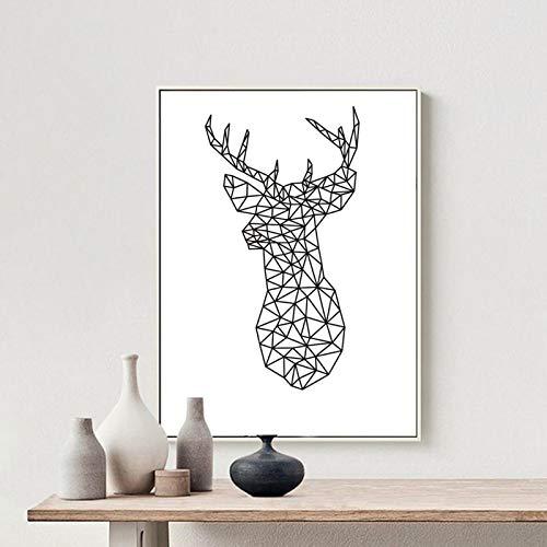 Minimalista cabeza de ciervo triángulos geométricos Origami pinturas en lienzo cartel de animal nórdico cuadro de arte de pared habitación de niños decoración del hogar 40x40cm sin marco