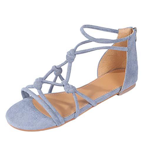 Sandalen Damen, TIFIY Sommer DamenGroße Flache Strand Roma Stiefel Flache Schuhe Solide T-Strap Aushöhlen Sandalen Offene Zehensandalen(Hellblau,39 EU)