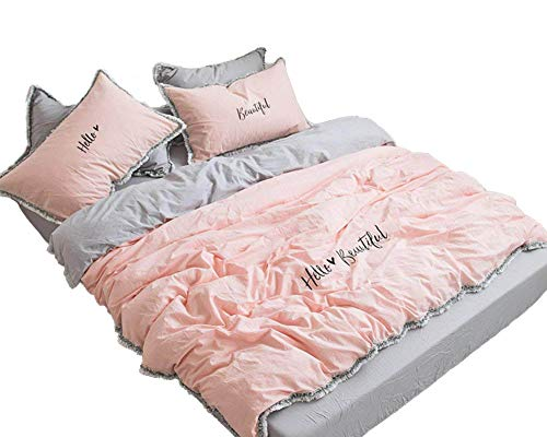 MeMoreCool Fringe Bedding Sets Pink&Grey 100% Cotton Embroidery Princess Room Home Textiles Duvet Cover and Fitted Sheet Full Girls Gifts