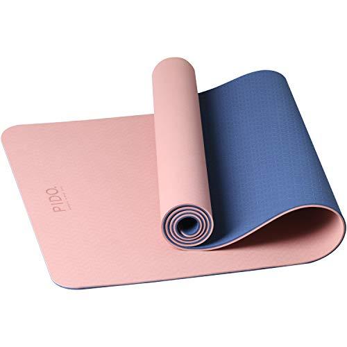 PIDO Yogamatte, leichte Reise-Yogamatte, umweltfreundliche Fitnessmatte, rutschfest mit Yoga-Gurt, Pilates- und Gymnastikmatte, 183 x 61 x 0,6 cm (Pink/Marineblau)