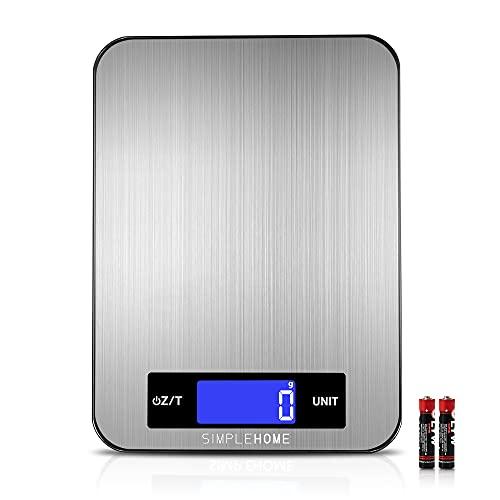 SimpleHome Báscula de cocina digital,11lb/5kg Básculas electrónicas profesionales para pesar alimentos con función de tara para hornear y cocinar,graduación precisa de 1 g/0,1 oz