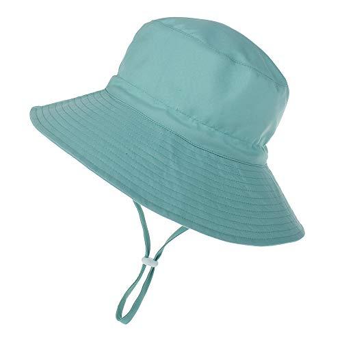 LACOFIA Kleinkind Baby Sonnenhut Kinder Mädchen Sommer Mütze UPF 50+ Hut für Strand Schwimmen Schwimmbad Breiter Krempe/Schnell Trocknend Grün 3-7 Jahre