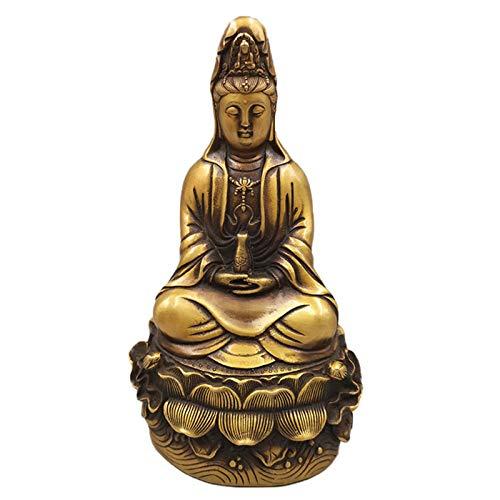 Estatua de Guan Yin Budismo Decoración, China Puro Bronce Kwan-Yin Guan Yin Personajes de Estatua Decoración, Feng Shui Figuras de Kwan Yin Buda Estatuas de Decoración,Latón