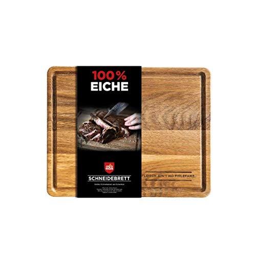 Otto Wilde Grillers Original Schneidebrett | Gewachstes Schneidebrett aus Eichenholz | Geöltes Holz und mit praktischer Saftrille | 32,5 x 26,5 x 2,5 cm