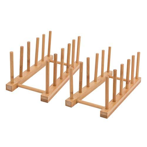 YaYadeer Rack de Almacenamiento de Bambú, Escurre Platos Bandeja de Goteo Organizador Cajones Cocina Wooden Bamboo Dish Stand Platos Cocina para Platos, Tazas,CD,Copa de Vino,Reservar