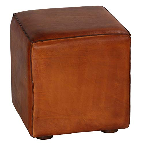 Bare Decor Sands Leather Cube Ottoman, 18.5' High, Brown