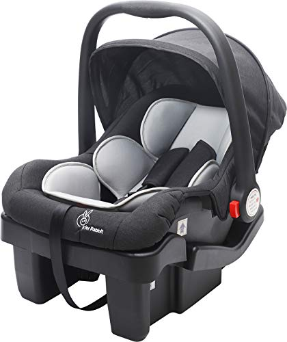 R for Rabbit Picaboo Grand 4 in 1 Multi Purpose Baby Carry Cot Cum Car Seat with 3 Level Recline Position and Detachable Base 0 to 15 Months (Black Grey)