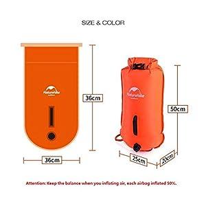 41BVeiSffhL. SS300  - Naturehike 28L Double-balloon Snorkelling Inflatable Bag Swimming Dry Bag Waterproof Beach Bag(Orange)