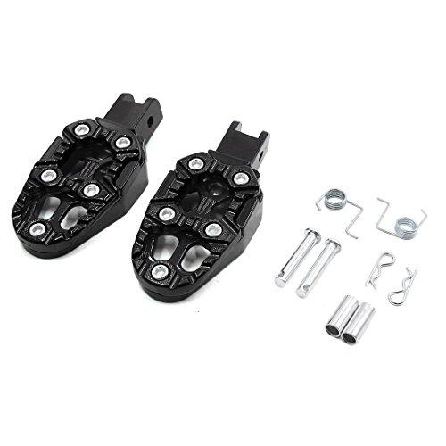 sourcing map 2Pcs 6mm Eje Reposapies Trasero Pedal Negro Aluminio Antideslizante para la Moto