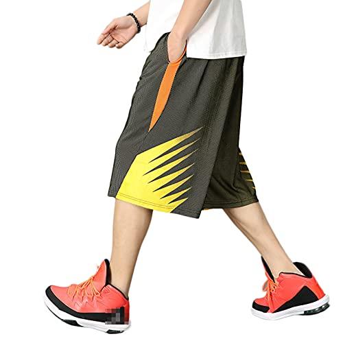 YUEMO Pantalones cortos de baloncesto para hombre con bolsillos para correr, deporte y fitness, casuales, elásticos, pantalones cortos anchos para hombre deportivos, 3, XXL