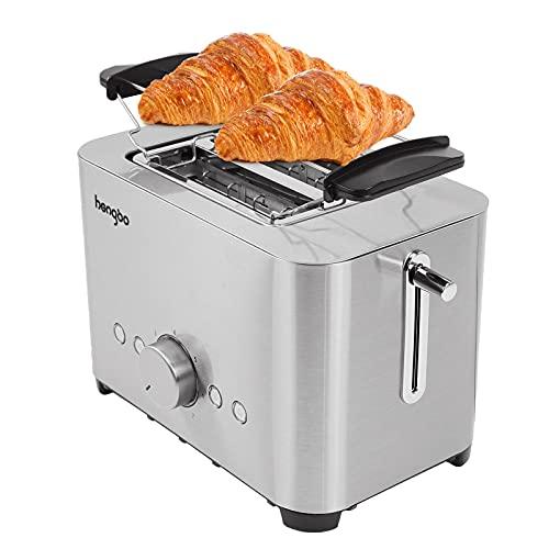 Tostapane 2 Fette, Toaster in Acciaio Inossidabile con Fessure Larghe, 7 Impostazioni di Tostatura, Vassoio per Briciole Rimovibile, Tosta pane con 1 Ripiani di Tostatura