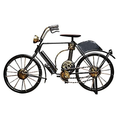 Modelo De Bicicleta De Metal, Escultura De Metal Retro DecoracióN De Bicicletas De Hierro Forjado, Adornos De Bicicleta De Arte De Metal, Adornos para La Oficina En Casa (Negro + Luz)