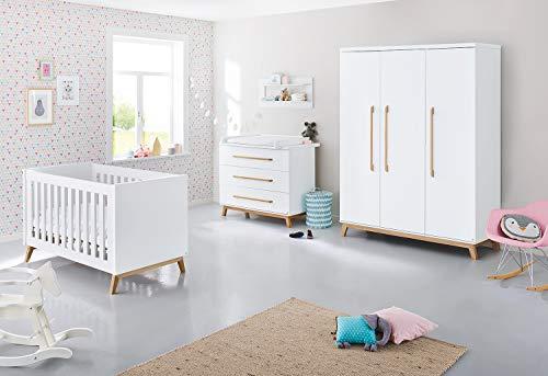 Pinolino Wickelkommode Riva extrabreit, inkl. abnehmbarem Wickelaufsatz, für Babys und Kleinkinder, aus weißem MDF und massiver Esche