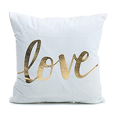 CH 45 X 45cm Bronzing Pattern Design PP Cotton Home Pillowcases Throw Pillow Cover (LOVE)