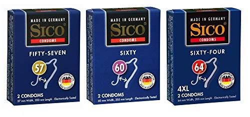 Sico SIZE Kondome in verschiedenen Größen und Packungen - Made in Germany (57mm, 60mm & 64mm, 6er)