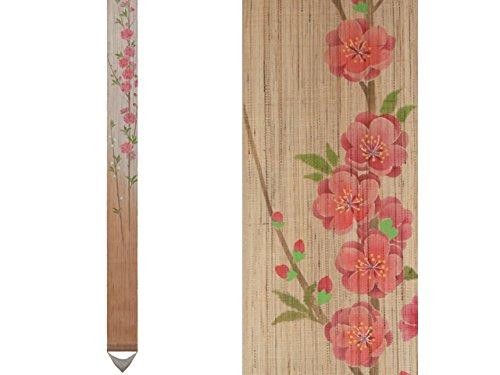 細タペストリー 『桃の花』 和モダン 春 四季 手描き タぺストリー 麻