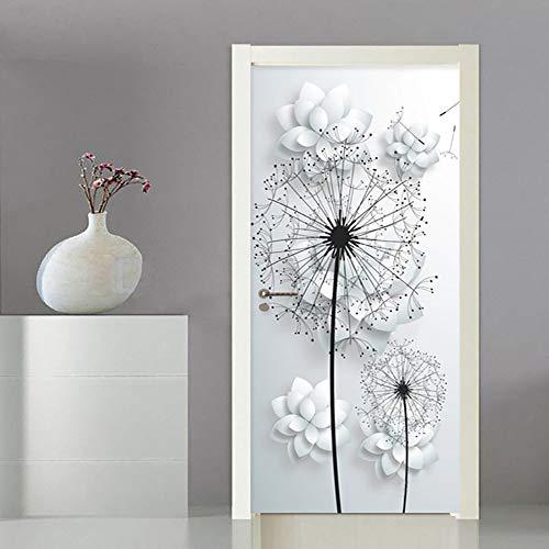 Liapianyun - Adhesivo decorativo para puerta (efecto 3D, diseño tridimensional, diseño de diente de león, color blanco
