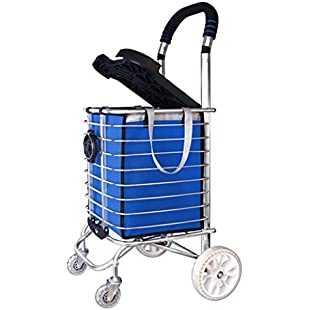Stair Climbing Shopping Trolley Lightweight Aluminum Alloy Luxury 4 Wheels Large Cart Foldable Grocery Basket with Seat/Cup Holder in Blue Shopping Pocket:Porcelanatoliquido3d