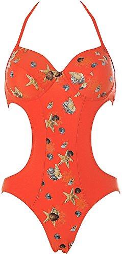 WINNER Damen Bügel Monokini Badeanzug Bikini Orange2 42