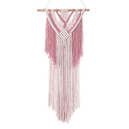 Boho Macrame Wall Tapestry Blush - Pink Hanging Wall Decor for Wedding Nursery...
