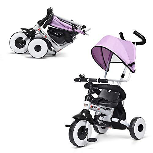 GOPLUS 4 in 1 Dreirad, Kinderdreirad Klappbar, Tricycle ab 1 Jahre bis 5 Jahre, Kinderfahrrad Kinderwagen Schiebewagen, Farbwahl (Rosa)