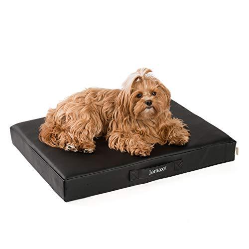 JAMAXX Premium Kunstleder - Orthopädische Matratze mit Memory Schaumstoff, Abwaschbare Matte/Abnehmbarer Bezug Wasserabweisend/Hunde-Bett mit funktionalem Visco Schaumstoff PDB1017-65x50 (S) schwarz