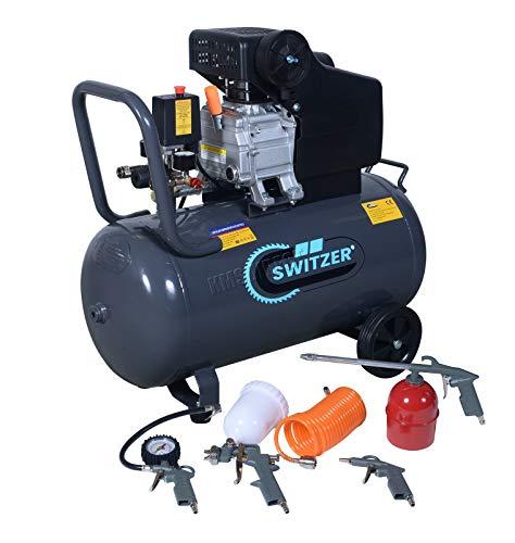 SwitZer Air Compressor 50L Litre LTR Tank 2.5HP 8 BAR Pressure 230V 50HZ 9.6CFM with 5PCS Kits Wheel Handle Grey AC004 New