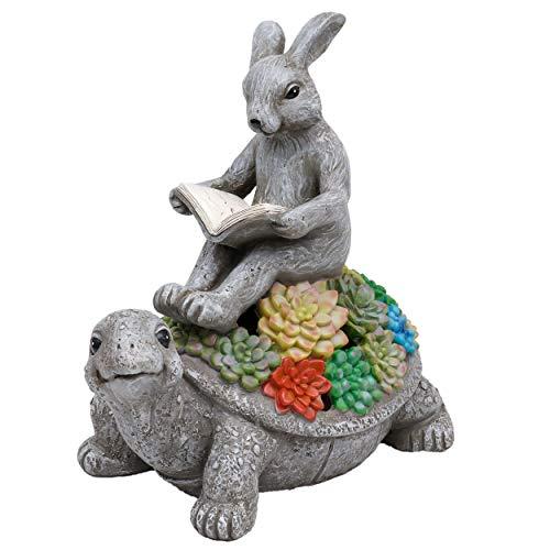 TERESA\'S COLLECTIONS Gartenfiguren für Außen Solarleuchte Hase auf Schildkröte Dekofiguren aus Kunstharz 23cm Gartenleuchte Tierfiguren Wetterfest Gartendeko für Hof Balkon Terrasse