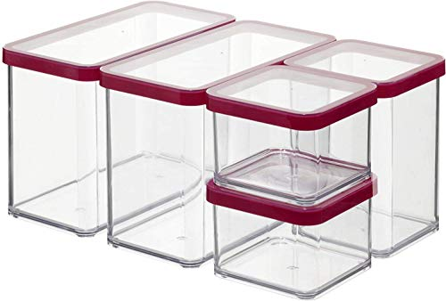 Rotho Loft, Juego de 5 cajas de almacenamiento con tapa de diferentes tamaños, Plástico PP sin BPA, transparente, rojo, 2 x 2.1l, 1 x 1.0l, 2 x 0.5l 30.0 x 21.0 x 15.0 cm